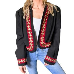 Double D Ranch Embellished Military Jacket Black